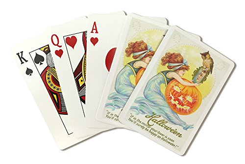 Halloween Scene of Woman Looking at Lover in Mirror (Playing Card Deck - 52 Card Poker Size with Jokers)