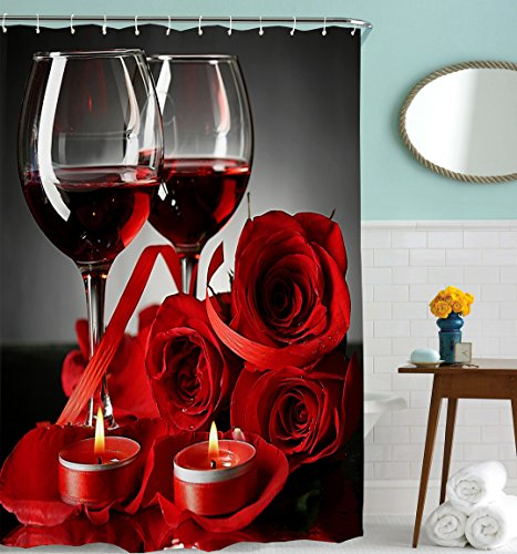 Goodbath Shower Curtain Rose Red Wine Romantic Lovers Water
