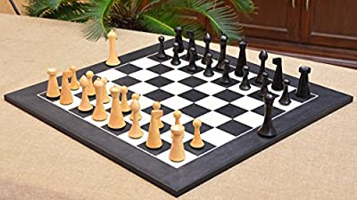 "Minimalist Hermann Ohme Chess Set in Dyed Boxwood & Box Wood - 3.74"" King"