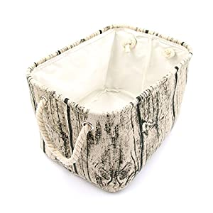 Jacone Stylish Tree Stump Design Rectangular Storage Baskets Cotton Fabric Washable Storage Bins Organizers with Rope Handles, Decorative and Convenient for Kids Rooms – Set of 3