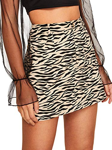 WDIRARA Women's Casual High Waist Above Knee Zebra Print Short Mini Skirt Black XS