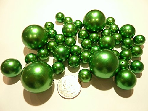 80 Jumbo and Assorted Sizes All Kelly Green/Christmas Green Pearls Vase Fillers Value Pack - NOT INCLUDING the Transparent Water Gels for Floating the Pearls (Sold Separately)