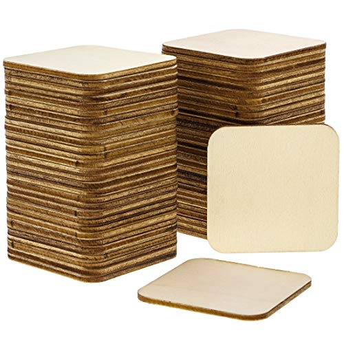 Bright Creations 60-Pack Unfinished Wood 2 x 2 Square Tile Cutouts for DIY Crafts,