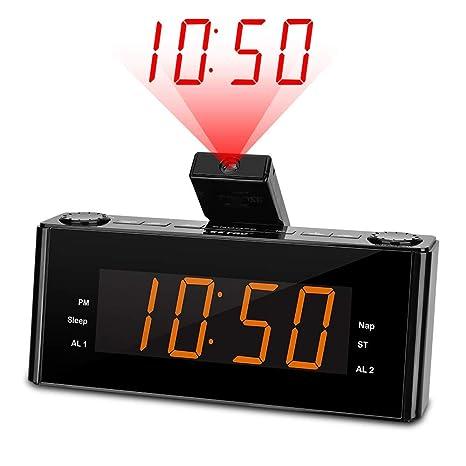 Amazon.com: Reloj despertador de proyección Radio ...