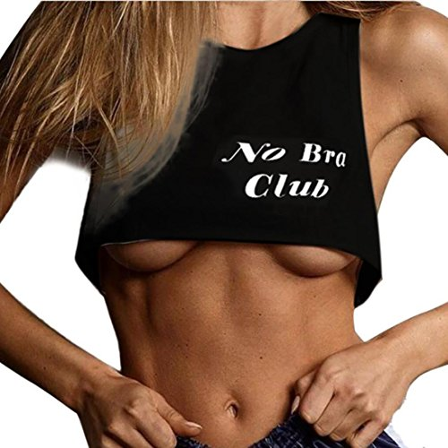 Litetao Tank Top Womens Girls No Bra Club Letter Print Vest Spring Sport Short Blouse