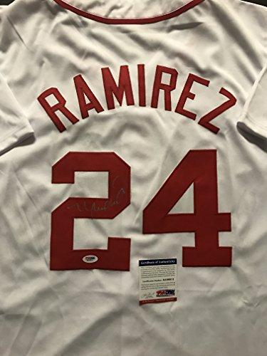 Autographed/Signed Manny Ramirez Boston Red Sox White Baseball Jersey PSA/DNA COA Ramirez Autographed Jersey