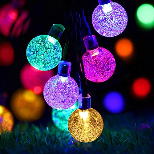 FashionSun Solar String Lights, Fairy Bubble Crystal Ball String Lights Home Decorative Lighting for Holiday Wedding Garden Patio Party (Multicolor, 9.5M/50LED)