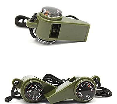 Survival Kit  3 in 1 Outdoor Camping Hiking Emergency Survival Gear tool Kit Multi-function Ultraloud Whistle Compass Thermometer