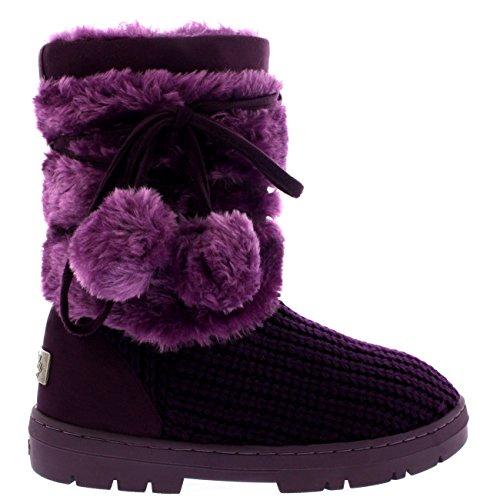 Mujer Pom Pom Corta Invierno Forrada De Piel Nieve Lluvia Zapato Botas Morado De Punto
