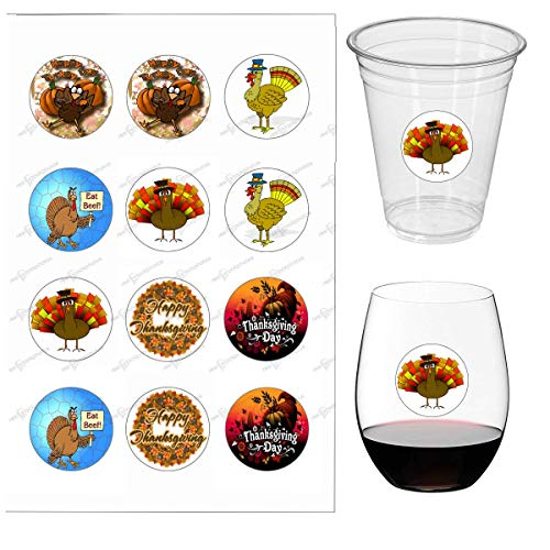 Glass Thanksgiving (Thanksgiving Wine Glass Identifier Decals - Turkey Glass Markers & Glass Tags For Dinner Party Cups - Waterproof & Disposable - 1 inch - 12 Decals/pack (cup not included))