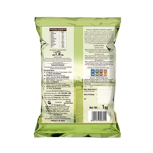 Daawat Rozana Gold Basmati Rice, 1kg 2021 June Rozana is above medium length product Original basmati nourished by snow fed rivers of great Himalayas, budget friendly More fibre