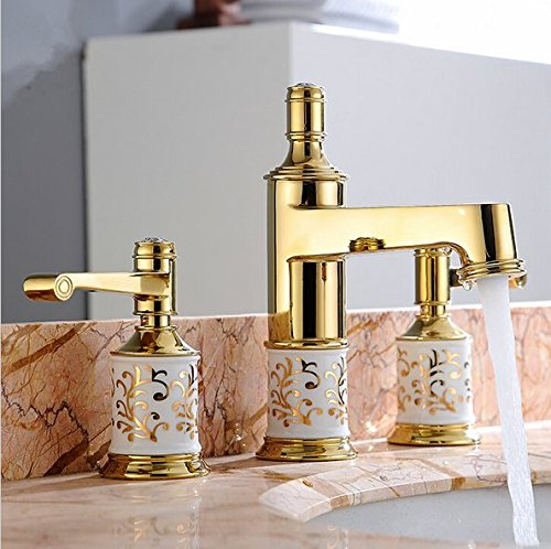 GOWE Bathroom faucet 3 holes double handle Rose Golden basin sink water taps solid brass in the bathroom products color:yellow 1