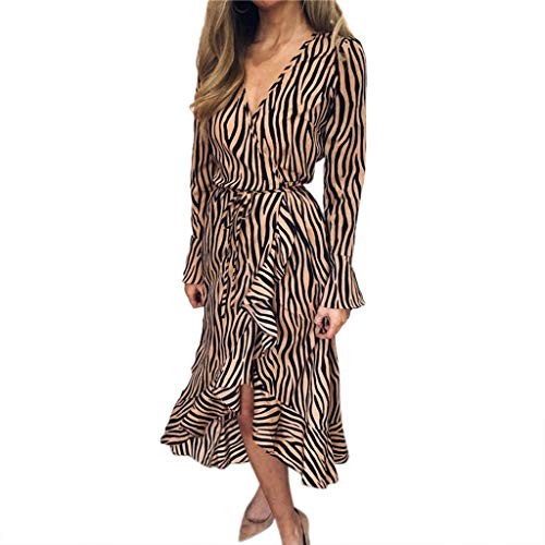 Women Fashion Chiffon Dresses, Tiger Pattern Print Summer V-Neck Bandage Long Sleeve Casual Party Club Midi Dress Khaki,M