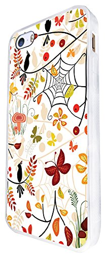 1289 - Cool Fun Trendy Cute Kawaii Butterfly Birds Spider Web Colourful Floral Flowers Collage Design iphone SE - 2016 Coque Fashion Trend Case Coque Protection Cover plastique et métal - Blanc