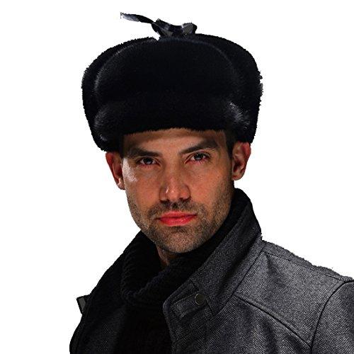 URSFUR Men's Premium Mink Full Fur Hunting Hat Captain Hat (Black) by URSFUR