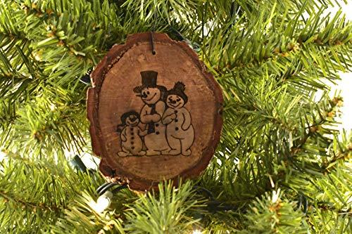 3 Snowmen Rustic Wood Ornament
