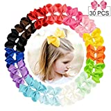 30pcs Hair Bows for Girls 4'' Big Boutique Bow Alligator Clips Grosgrain Ribbon Hair Accessories Toddlers Kids Teens