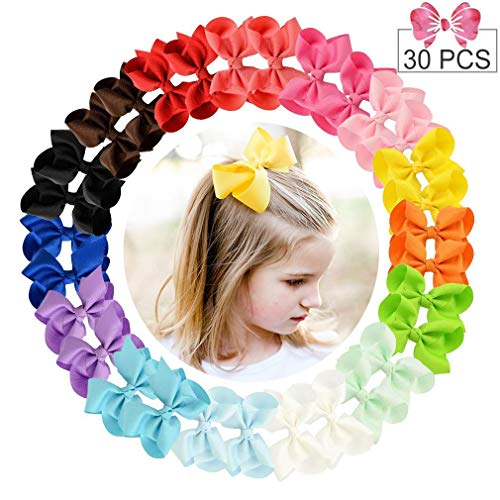 "30pcs Hair Bows for Girls 4"" Big Boutique Bow Alligator Clips Grosgrain Ribbon Hair Accessories Toddlers Kids Teens"