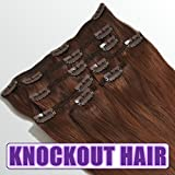 Knockout Hair 120 Grams Clip In Human Hair Extensions - 7 Pieces - 15 Clips - 18 Inch P#33/34 Dark Auburn Mix