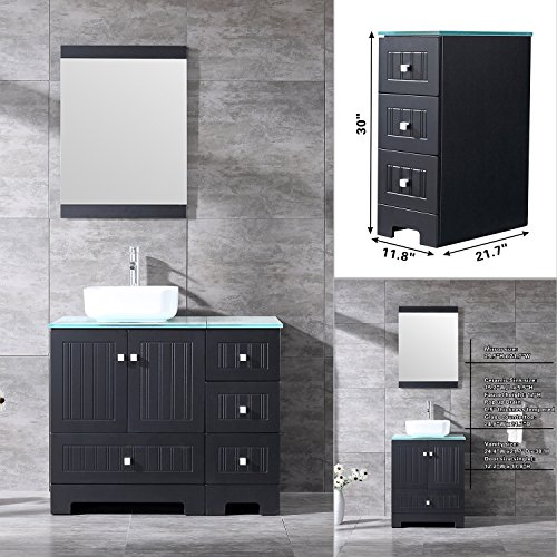 - Bestmart INC 36'' Bathroom Vanity Cabinet Ceramic Vessel Sink Basin Faucet Mirror and Free Drain