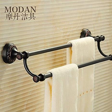 BBSLT Antiguo antiguo negro Toallero doble varilla colgador de toallas de baño baño continental hardware de cobre accesorios toallero 625*130 mm , negro: ...
