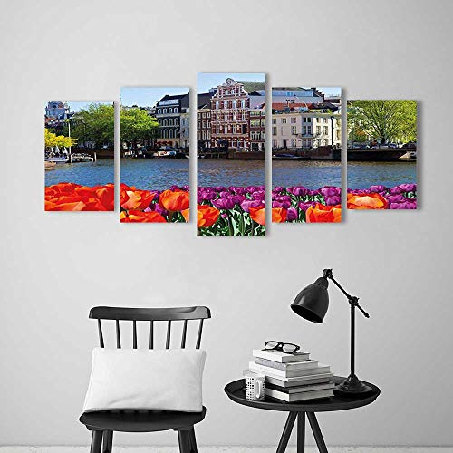rt Painting Frameless City Holland Amsterdam Scenery of Old Victorian Era Houses Art Print Multicolor Hotel Office Decor Gift Piece ()