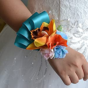 Abbie Home Girl Bridesmaid Wedding Wrist Corsage Wristband Party Prom Hand Flower Décor (WD501) 95