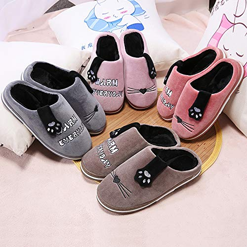Cotton Slippers Comfortable Women HooyFeel Shoe Mens House and Brown for Warm PpE5Eqw