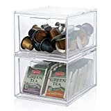 Stackable Clear Plastic Coffee Pod and Tea Bag Organizer Drawers | 2-pack