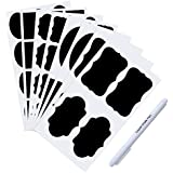 SONGMICS 64PCs Reusable Chalkboard Labels Self-Adhesive Chalk Stickers with White Erasable Chalk Marker for Jars UFWT008