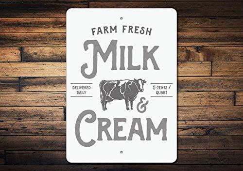 Milk & Cream Sign Farm Fresh Milk Sign Dairy Cow Decor Dairy Cow Sign Farm Kitchen Decor Farm Kitchen Sign Metal Aluminum Sign 8x12 inch