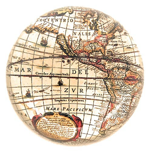- Value Arts Antique World Map Glass Dome Paperweight, 3 Inches Diameter
