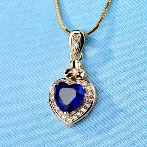 FidgetKute Graceful Heart Design Blue Topaz Crystal Gemstone Pendant Necklace for Women Yellow Gold Filled ()
