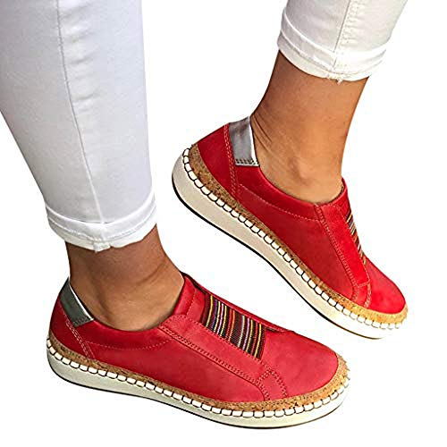 TnaIolral Womens Shoes Fashion Summer Hollow-Out Round Toe Slip On Flast with Sneakers (US:9.5-10, Red)