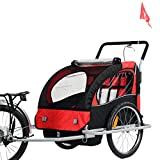 Bicycle Carrier Double Baby Bike Trailer Jogger Stroller 2 in 1