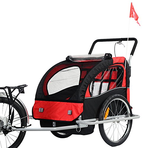 Bicycle Carrier Double Baby Bike Trailer Jogger Stroller 2 in 1 by Caraya (Image #9)