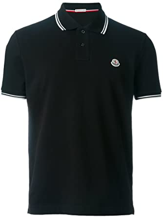 Moncler Classic Short Sleeve Men's Polo Shirt (Medium, Black)
