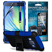 ( Blue ) Samsung Galaxy A5 Case Custom Made Case Tough Survivor Hard Rugged Shock Proof Heavy Duty Case W/ Back Stand, LCD Screen Protector Guard, Polishing Cloth & Mini Retractable Stylus Pen by ONX3®