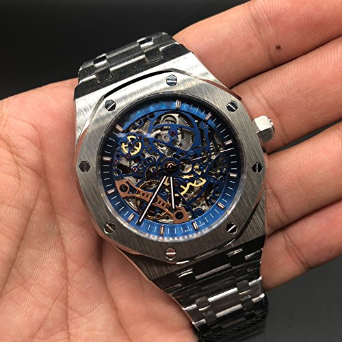 Luxury Brand Stainless Steel Silver Color Blue dial Automatic Movement Skeleton Oak Watch -