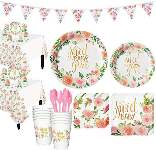 Party City Boho Girl Baby Shower Supplies for 16 Guests, Include Plates, Napkins, Cups, Utensils, and Decorations