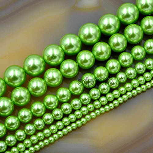6 Mm Light Green (AD Beads Top Quality Czech Glass Pearl Round Beads 16'' 3mm 4mm 6mm 8mm 10mm 12mm (4mm, Light Green))