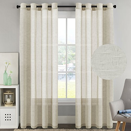 Drapery Panel (H.Versailtex 52-inch by 96-inch Set of 2 Made of Rich Linen Poly Mixed Sheer Drapery Curtain Panels with Nickel Grommets,Natural Pattern)