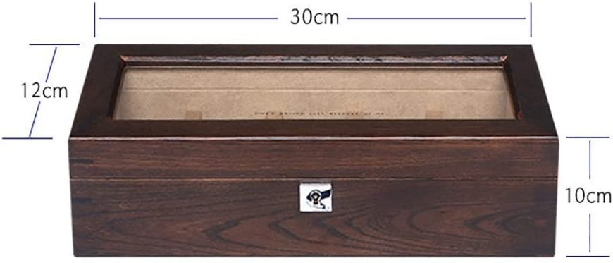 Unknow Scatola per Organizer con Custodia in Vetro per 5 Orologi da Polso con Coperchio in Vetro con Serratura (Colore: B) A