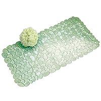 Alfombra de baño de succión antideslizante InterDesign Pebblz - Alfombra para ducha o bañera, verde