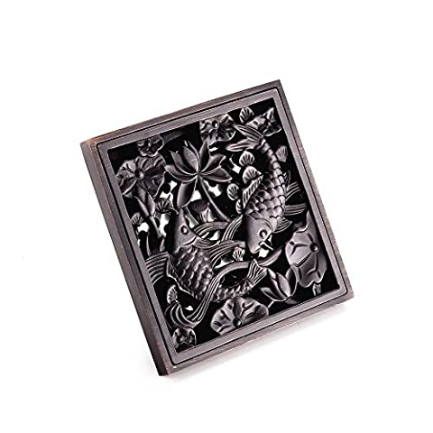 AUSWIND Antique Brushed Nickel Solid Brass Floor Drain Carved Square 4-Inch Black Or Bronze Color Bathroom Lavatory (Fish(Black))