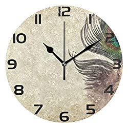 jiushiyigezi-n Round Wall Clock Vintage Peacock Feather Non-Ticking Silent Decorative Clock,Great Gifts for Christmas with 9 Inch Battery Operated Quartz Desk Clock for Home、Office