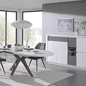M-128 Esszimmer-Set, modernes Design, Holz, Weiß/Grau: Amazon.de ...