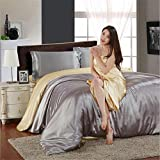 Bedding Collection Solid Color Super Soft Skin-friendly Silk Satin 4 Piece Bed Sheet Set Polyeshter Duvet Cover Flat Sheets Pillowcases Full Queen , 15 , full