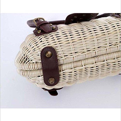 du Beige marron Mobile tendance décontractée clair Japon rivet mode Hztdda brun tissé Beige rétro la sac Sud sac paille Corée et Beach foncé de FXxOBAxwqg