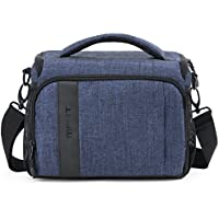 BAGSMART Compact Camera Shoulder Bag for SLR/DSLR with Waterproof Rain Cover, Heather Blue